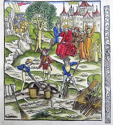 1502 Grüninger Master orig. INCUNABULA WOODCUT Latinus The aftermath of Battle