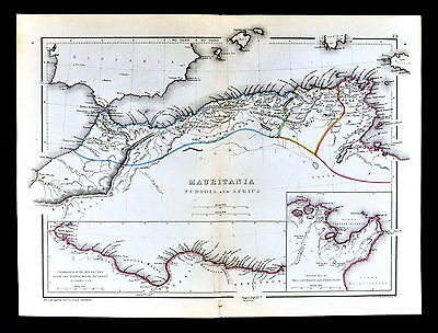 1871 Classical Map - Ancient Mauritania Numidia Carthage Cyreanica North Africa