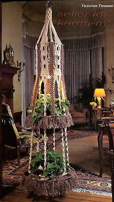 VICTORIAN TWO-TIER HANGING TABLE~Vtg Pattern Book~PLANT HANGERS~ Macrame Gold