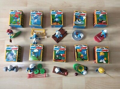 Job lot of Super Sport Smurfs X 10 - All Boxed, Complete, Orange Dot, Schleich
