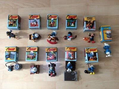 Job lot of Super Smurfs x 9 - All Boxed, Complete, Orange Dot, Schleich