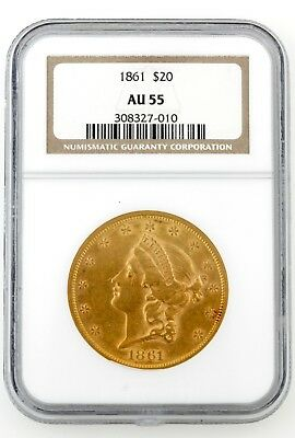 1861 Civil War Era Us $20.00 Liberty Gold Piece Ngc Certified Au55 Really Nice