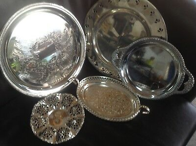 Job Lot Vintage Style Silver And Chrome Plated Trays Serving Dishes Tea Room?