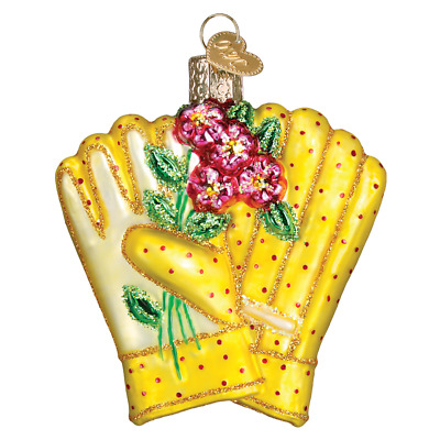 """Gardening Gloves"" (32329)X Old World Christmas Glass Ornament w/OWC Box"