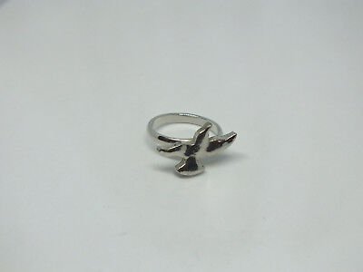 """Adjustable Cocktail Ring Silver Tone Bird in Flight  1/2"""" Face CUTE"""