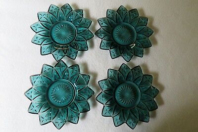 """Lot of 4 vintage Federal Glass """"petal"""" iridescent blue 6 1/2 inch plates"""