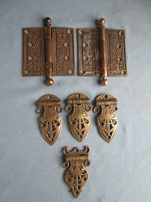 Antique Solid Brass Eastlake Victorian Pair of Hinges & Ice Box Hinges Lot (6)