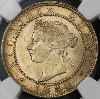 1880 NGC MS 63 JAMAICA Penny Victoria 96K Minted Britain Empire Coin (17122006C)