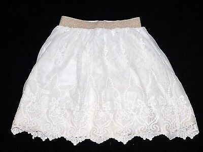 JOHNNIE B Mini Boden Girls White Ivory Lace Tulle Skirt Size 9-10 Y Years