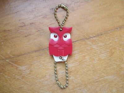 Vintage 1970s Plastic Owl Coca Cola Advertising Double Keychain Cute!