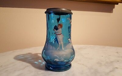 Antique Mary Gregory Decorated Celeste Blue Glass Stein