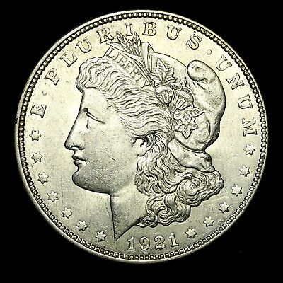 1921 D ~**ABOUT UNCIRCULATED AU**~ Silver Morgan Dollar Rare US Old Coin! #M98