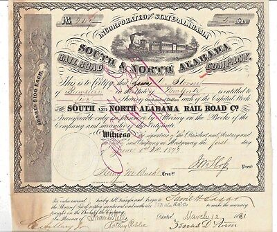 Stk-South & North Alabama RR Co. 1877 s/p J. W. Sloss See images #6-8