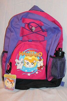 "NEW WITH TAGS HAMTARO LARGE SCHOOL PURPLE 12"" x 16"" BACKPACK WITH WATER BOTTLE"