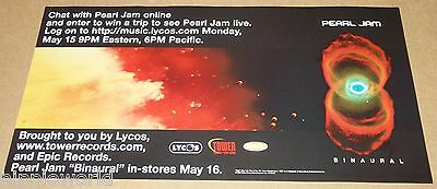 Pearl Jam May 16 2000 Binaural ad 12 x 24 original Tower Records flyer poster