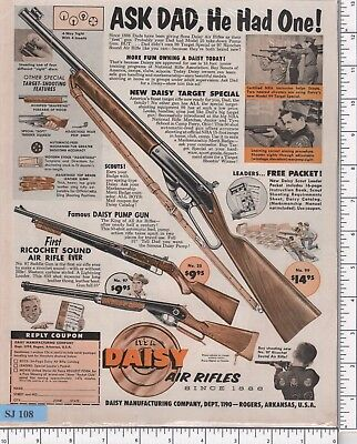 SJ108 Magazine Ad for Daisy Air Rifles (1960) Boy Scouts