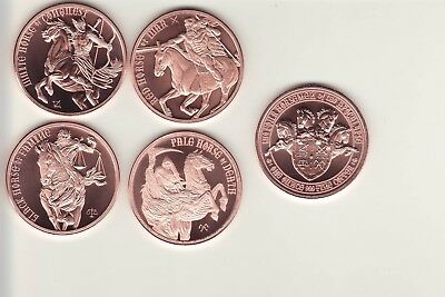 FOUR HORSEMEN of the APOCALYPSE  Complete 4 coin Copper Round SET