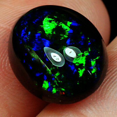 2.95CT Natural Ethiopian Black Opal Cab Play Of Color SHP6487