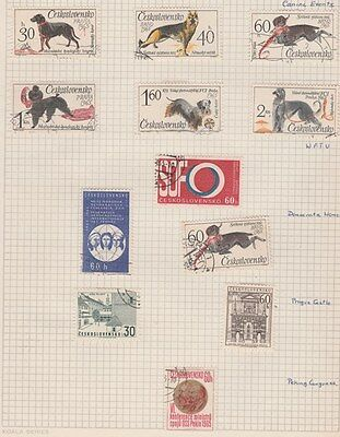 CZECHOSLOVAKIA 1965 Canine, WFTU, Prague, etc on Old Book Pages,as per scan #