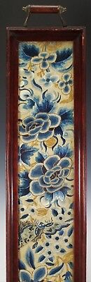 Antique 19Th C. Chinese Silk Embroidered Textile Robe Panel In Wood Tea Tray