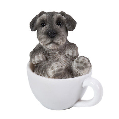 New TEACUP PUPS Figurine Statue SCHNAUZER DOG PUPPY in Cup Mug Grey Toy Figure