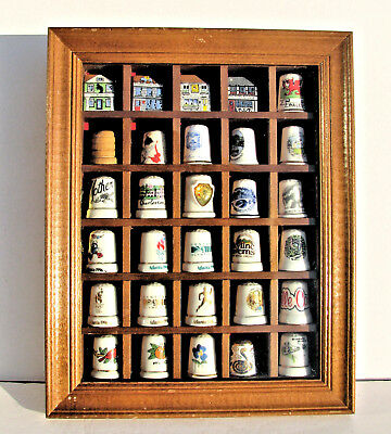 Lot of 30 Thimbles Collection in Vintage Display Case