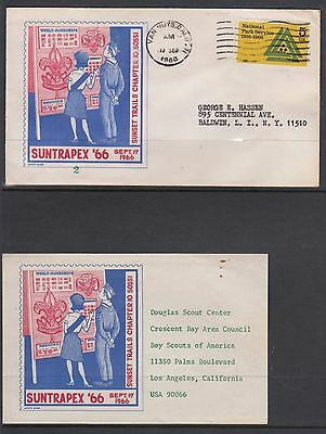 UNITED STATES 1966 SUNTRAPEX 66 SCOUTS COVER and Insert slight tone