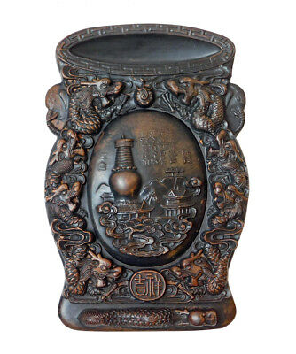 Ding Shape Chinese Calligraphic Ink Pad Carved Dragon, Heaven Pagoda Palace n308