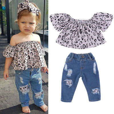2PCS Toddler Kids Baby Girls Clothes T-shirt Tops+Ripped Jeans Pants Outfits Set