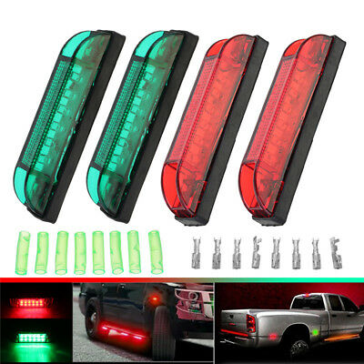 4x Boat Navigation LED Lighting RED & GREEN Waterproof Marine Utility Strip Lamp