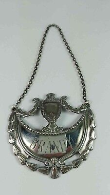 Brandy Sterling Silver Decanter Tag