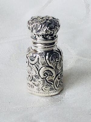 Antique Miniature Solid Silver Bright Cut Perfume Scent Bottle Birmingham 1901