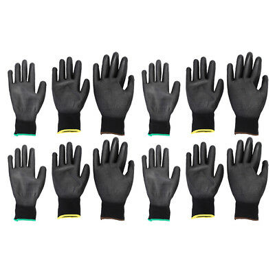 6 Pairs Ultra-Thin PU Coated Nylon Safety WORK GLOVES for Men & Women