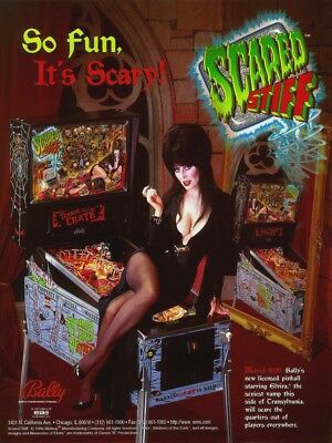 SCARED STIFF Pinball Flyer w/ ELVIRA 1996 Original NOS Halloween Horror Theme