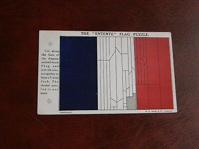 Original Novelty Cut-Out Postcard - Union Jack Flag - Entente Flag Puzzle, Rowe.