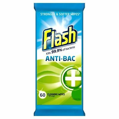 Flash Strong Weave Antibacterial Wipes (60) - Pack of 2