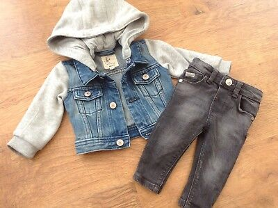 River Island Baby  Boys Small Trendy Bundle / Outfit 3-6Ths Jacket Jeans