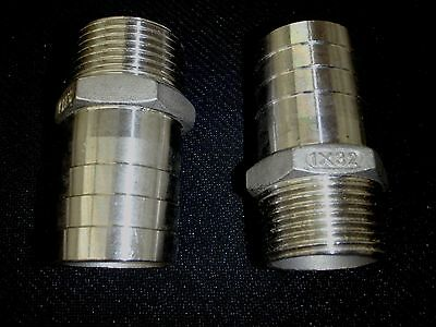 """Hb100125 Stainless Steel Hose Barb 1"""" Npt Pipe - 1 1/4"""" Hose"""