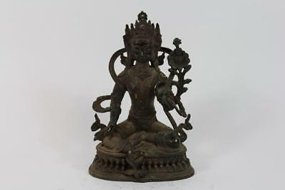 Skulptur Bronze Buddha Tara in Meditation auf Thron China Tibet
