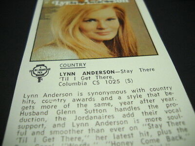 LYNN ANDERSON original 1970 music biz promo only lp review STAY THERE 'TIL I GET