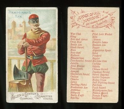 "1887 N3 Allen & Ginter Arms of All Nations ""Headsman Axe"" VG **AA-9018**"