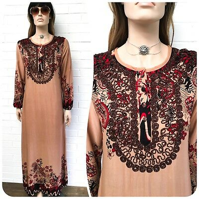Vintage Indian Paisley Gauze Cotton Kaftan Maxi Bib Dress Boho Festival 10-12