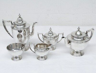 Vintage Alvin S91-S95 5-Piece Sterling Silver Coffee Tea Set Creamer Sugar