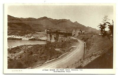 India postcard Attock Bridge on River Indus showing the Neighbouring Hills