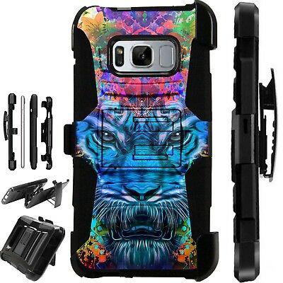 For Samsung Galaxy Phone Case Holster Stand Cover FANTASY TIGER BLUE LuxGuard