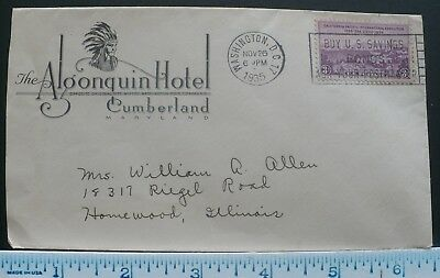 1935 Algonquin Hotel Cumberland MD, Indian Chief Corner Adv. Envelope, Used