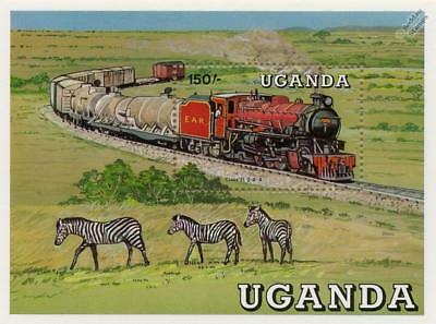 East African Railways Class 31 2-8-4 Train Locomotive Stamp Sheet/1988 Uganda