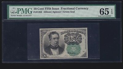 US 10c Fractional Currency Green Seal FR 1264 PMG 65 EPQ Ch CU