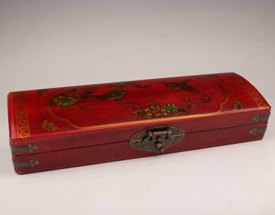Red Leather Flowers Birds Adorn Large Chinese Wedding Gift Jewelry Box