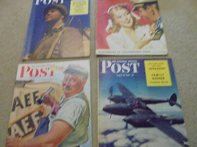 Vintage Lot of 4 1942 Saturday Evening Post Magazines August